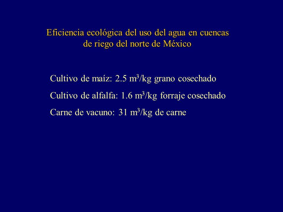 Eficiencia ecológica del uso del agua en cuencas de riego del norte de México Cultivo de maíz: 2.5 m 3 /kg grano cosechado Cultivo de alfalfa: 1.6 m 3 /kg forraje cosechado Carne de vacuno: 31 m 3 /kg de carne