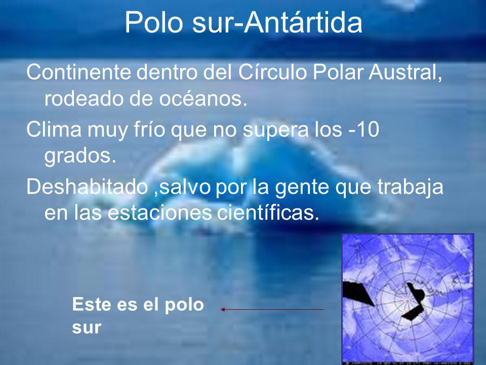 Polo sur-Antártida Continente dentro del Círculo Polar Austral, rodeado de océanos. Clima muy frío que no supera los -10 grados. Deshabitado,salvo por