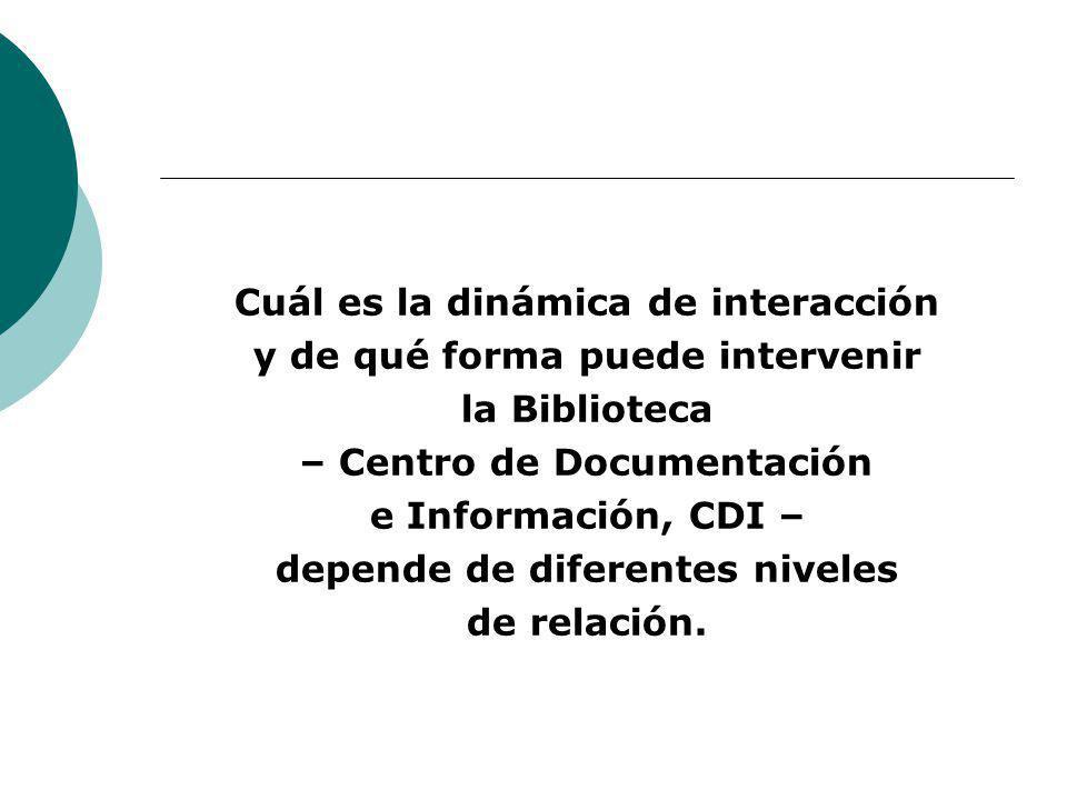 Cuál es la dinámica de interacción y de qué forma puede intervenir la Biblioteca – Centro de Documentación e Información, CDI – depende de diferentes niveles de relación.