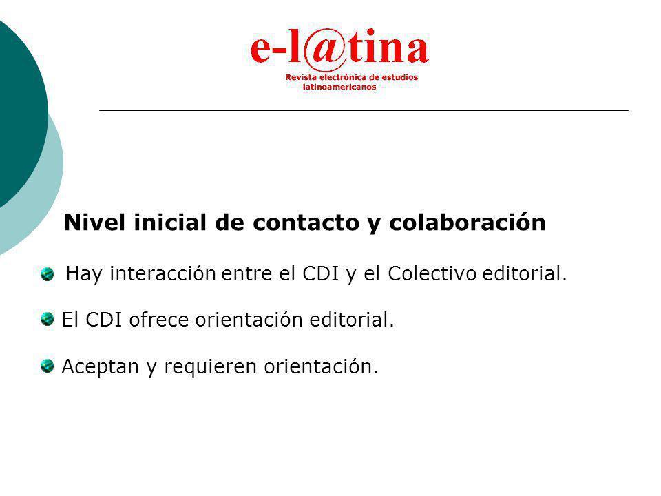 Nivel inicial de contacto y colaboración Hay interacción entre el CDI y el Colectivo editorial.