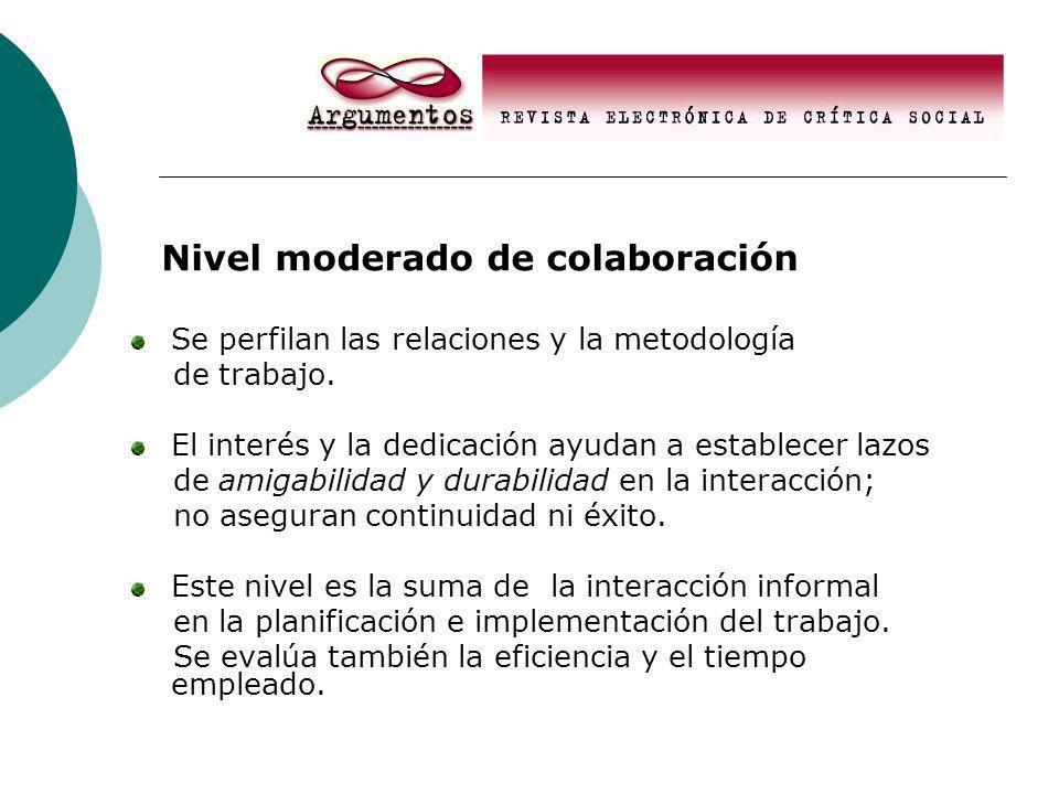 Nivel moderado de colaboración Se perfilan las relaciones y la metodología de trabajo.