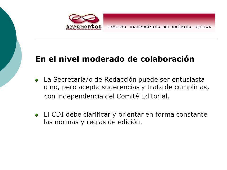 En el nivel moderado de colaboración La Secretaria/o de Redacción puede ser entusiasta o no, pero acepta sugerencias y trata de cumplirlas, con independencia del Comité Editorial.