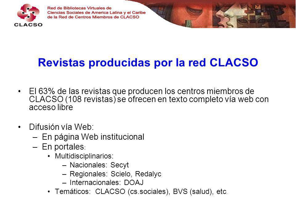 Revistas producidas por la red CLACSO El 63% de las revistas que producen los centros miembros de CLACSO (108 revistas) se ofrecen en texto completo vía web con acceso libre Difusión vía Web: –En página Web institucional –En portales : Multidisciplinarios: –Nacionales: Secyt –Regionales: Scielo, Redalyc –Internacionales: DOAJ Temáticos: CLACSO (cs.sociales), BVS (salud), etc.