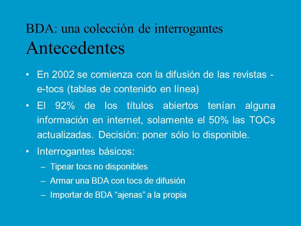 BDA: una colección de interrogantes La realidad de nuestra hemeroteca Análisis de la colección (abiertas) –Procedencia / Idioma: 66% - 34% –Uso: los indizados en BDA propia Cantidad de títulos indizados en BDAs: 64% institucionales, 5% comerciales de acceso libre.