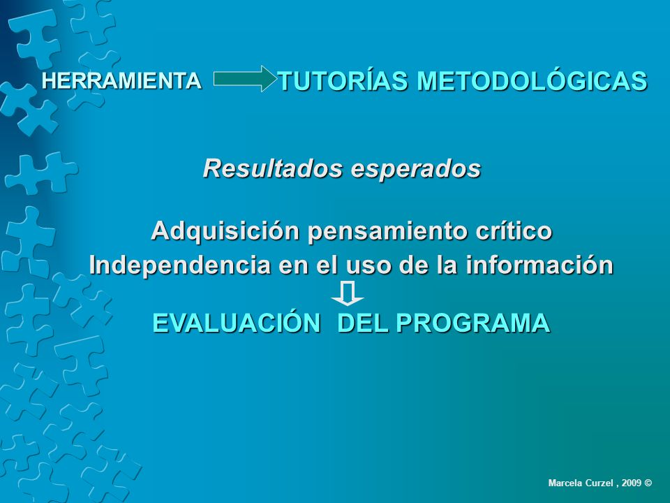Resultados esperados Adquisición pensamiento crítico Independencia en el uso de la información EVALUACIÓN DEL PROGRAMA Marcela Curzel, 2009 © TUTORÍAS METODOLÓGICAS HERRAMIENTA