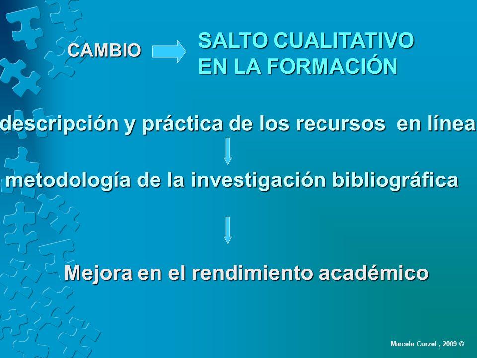 descripción y práctica de los recursos en línea Mejora en el rendimiento académico metodología de la investigación bibliográfica SALTO CUALITATIVO EN LA FORMACIÓN CAMBIO Marcela Curzel, 2009 ©