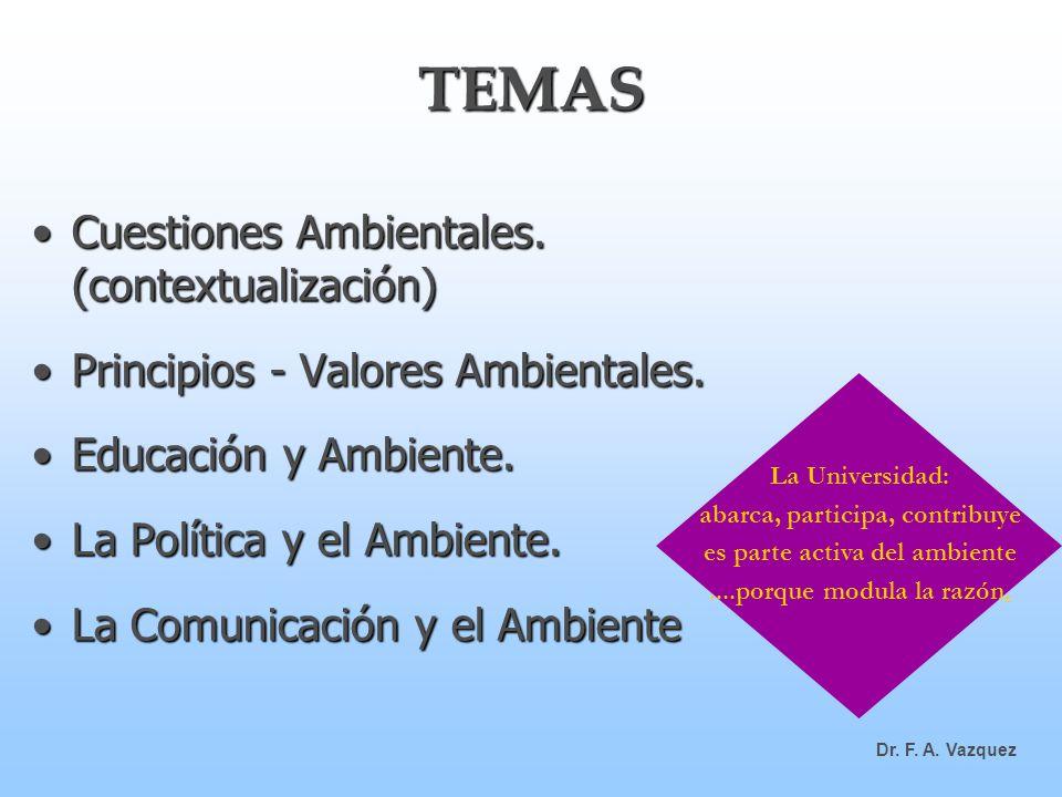 TEMAS Cuestiones Ambientales. (contextualización)Cuestiones Ambientales. (contextualización) Principios - Valores Ambientales.Principios - Valores Amb