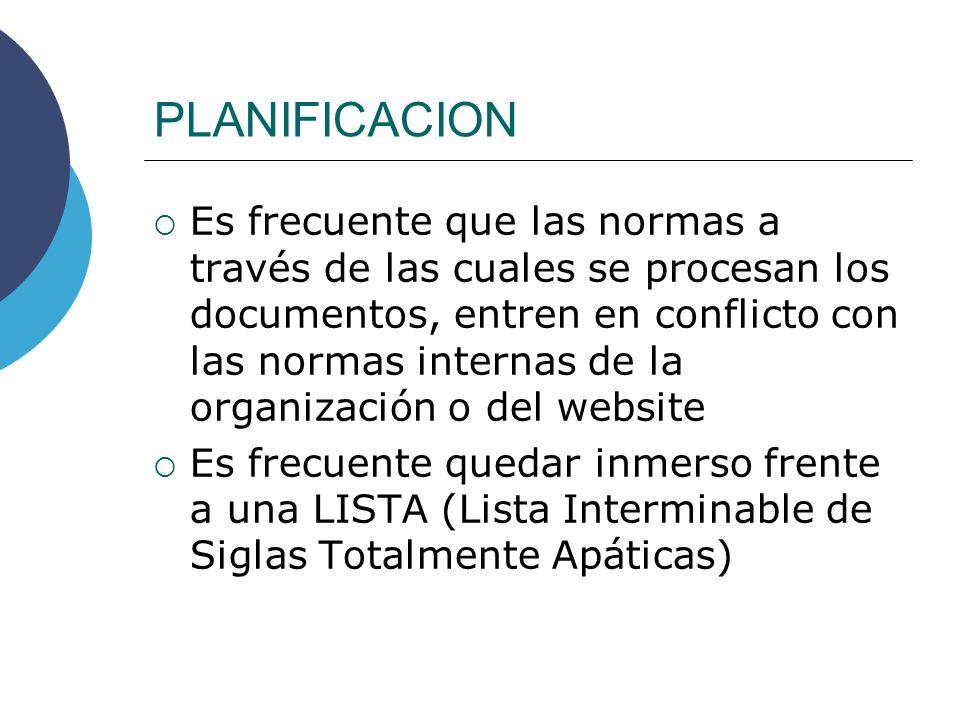 PLANIFICACION Es frecuente que las normas a través de las cuales se procesan los documentos, entren en conflicto con las normas internas de la organiz