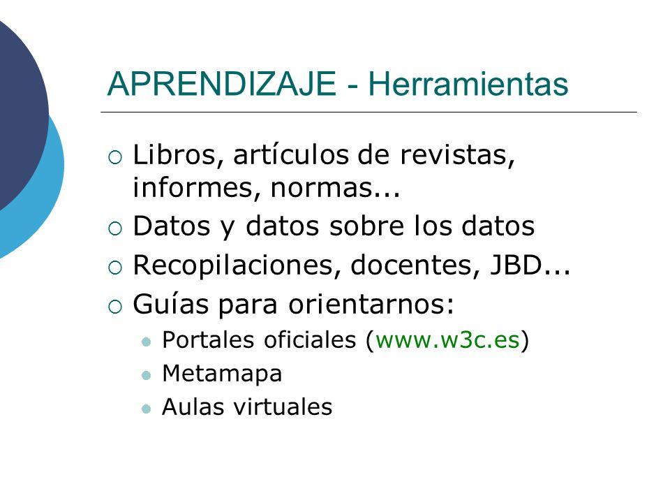 APRENDIZAJE - Herramientas Libros, artículos de revistas, informes, normas... Datos y datos sobre los datos Recopilaciones, docentes, JBD... Guías par