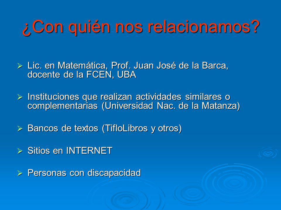 ¿Con quién nos relacionamos? Lic. en Matemática, Prof. Juan José de la Barca, docente de la FCEN, UBA Lic. en Matemática, Prof. Juan José de la Barca,