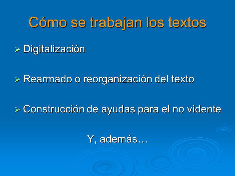 Cómo se trabajan los textos Digitalización Digitalización Rearmado o reorganización del texto Rearmado o reorganización del texto Construcción de ayudas para el no vidente Construcción de ayudas para el no vidente Y, además…