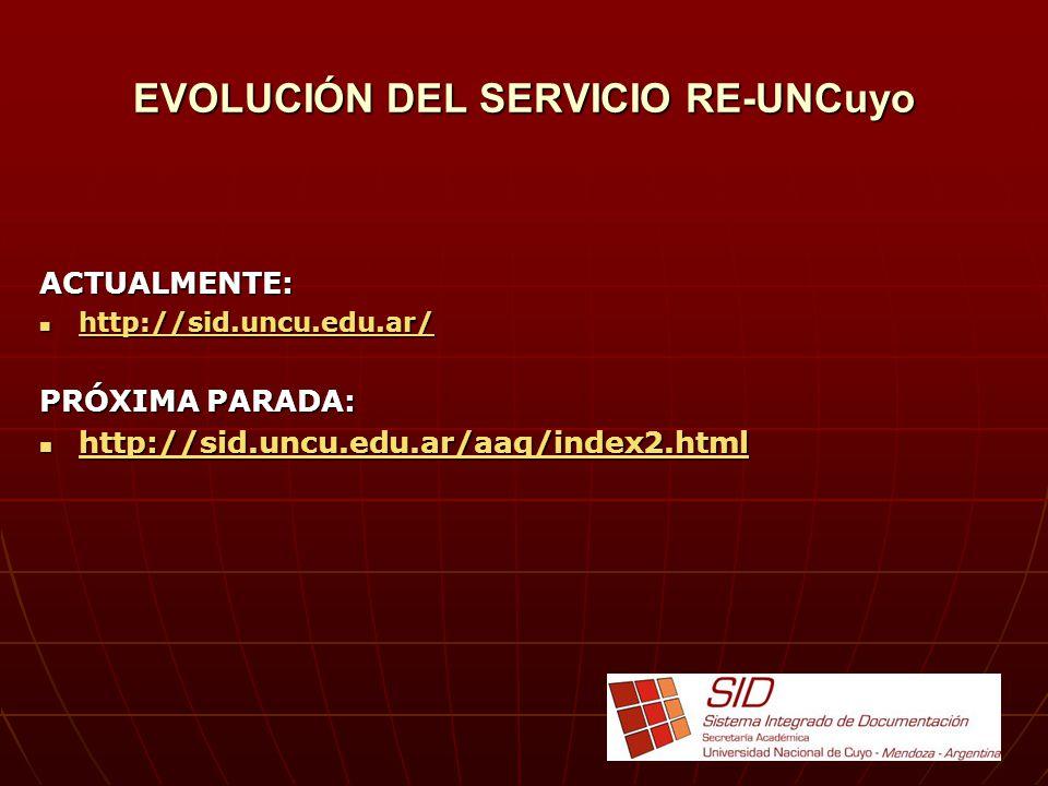 EVOLUCIÓN DEL SERVICIO RE-UNCuyo ACTUALMENTE: http://sid.uncu.edu.ar/ http://sid.uncu.edu.ar/ http://sid.uncu.edu.ar/ PRÓXIMA PARADA: http://sid.uncu.edu.ar/aaq/index2.html http://sid.uncu.edu.ar/aaq/index2.html http://sid.uncu.edu.ar/aaq/index2.html