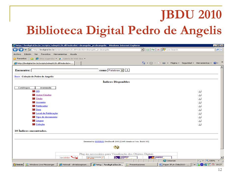 12 JBDU 2010 Biblioteca Digital Pedro de Angelis