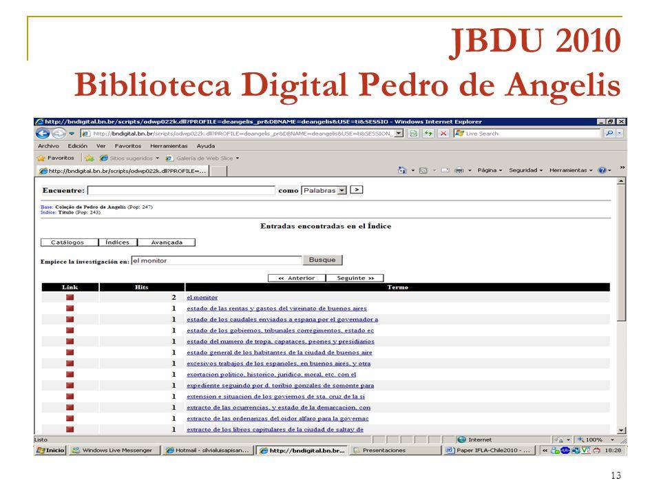 13 JBDU 2010 Biblioteca Digital Pedro de Angelis