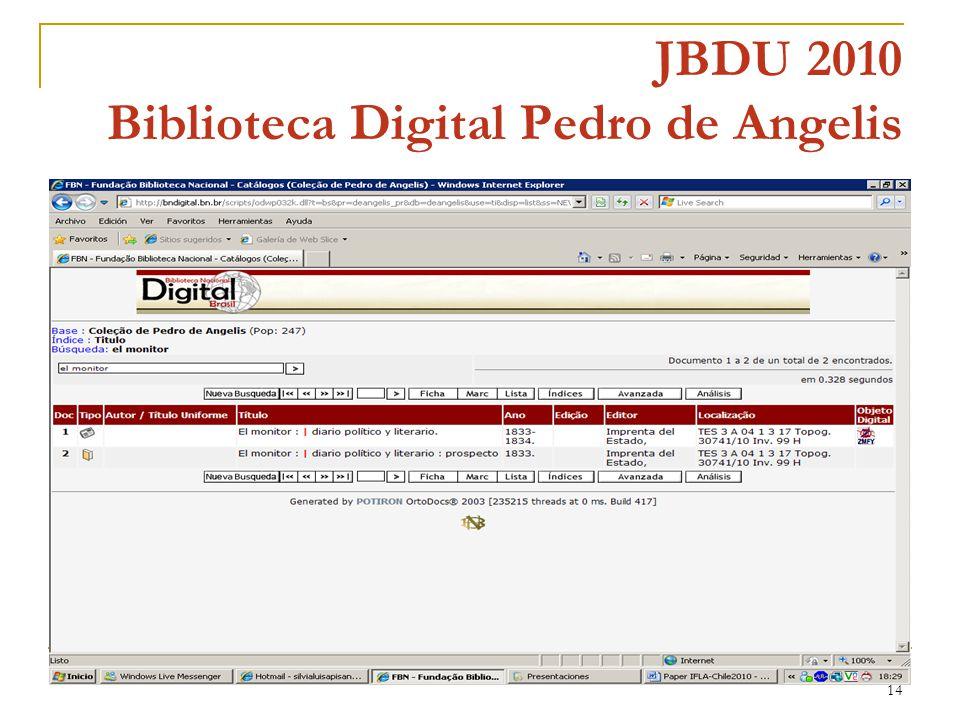 14 JBDU 2010 Biblioteca Digital Pedro de Angelis