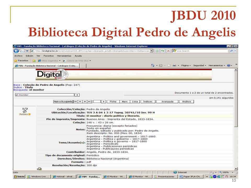 15 JBDU 2010 Biblioteca Digital Pedro de Angelis