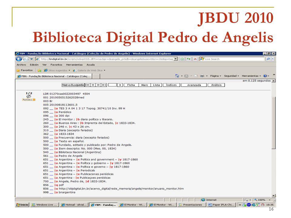 16 JBDU 2010 Biblioteca Digital Pedro de Angelis