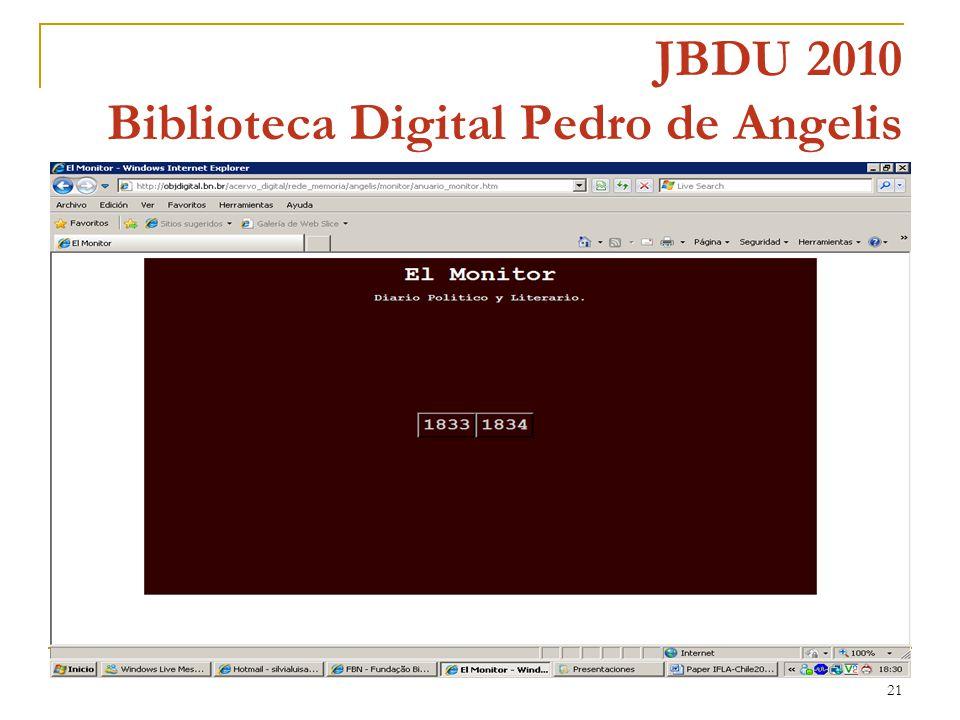 21 JBDU 2010 Biblioteca Digital Pedro de Angelis