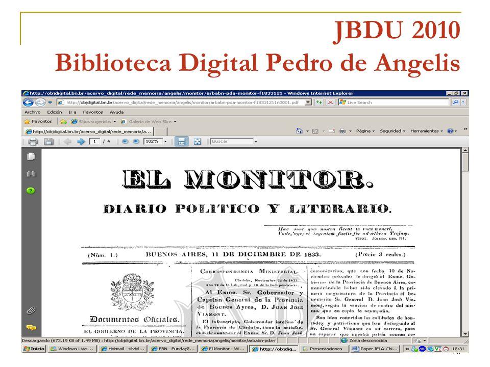 23 JBDU 2010 Biblioteca Digital Pedro de Angelis