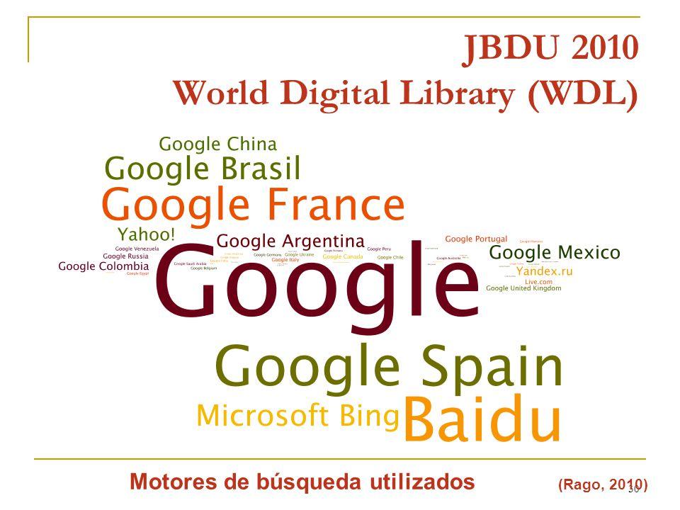 30 JBDU 2010 World Digital Library (WDL) Motores de búsqueda utilizados (Rago, 2010)