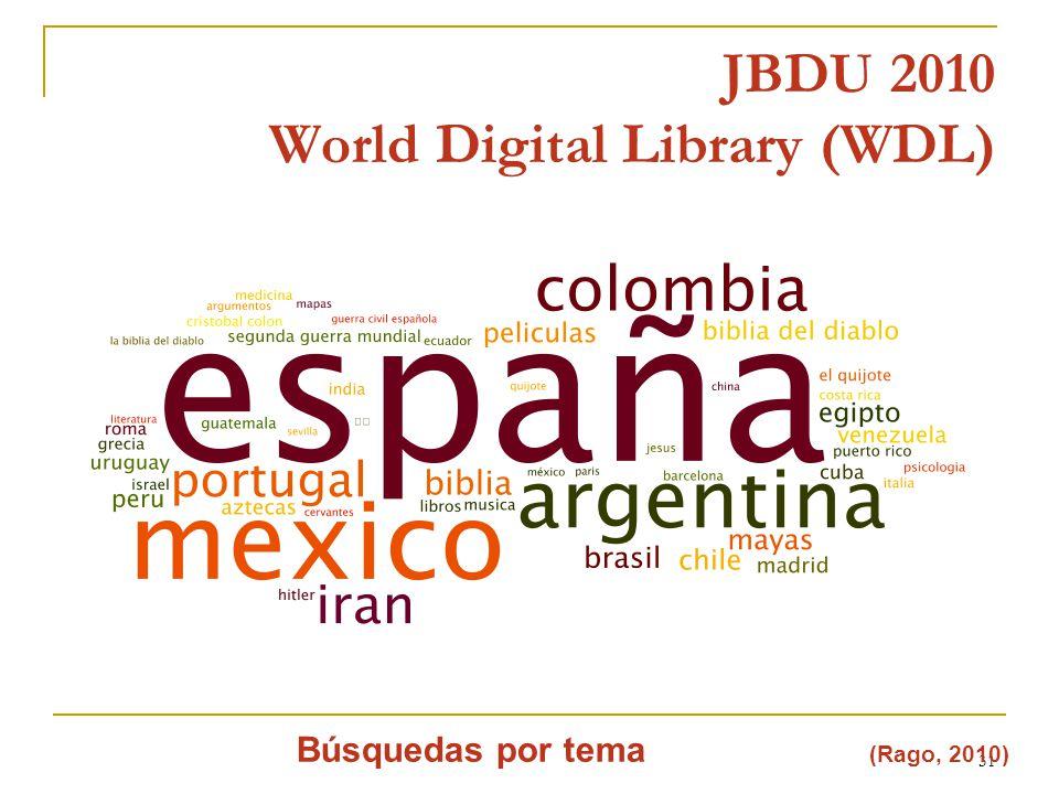 31 JBDU 2010 World Digital Library (WDL) Búsquedas por tema (Rago, 2010)