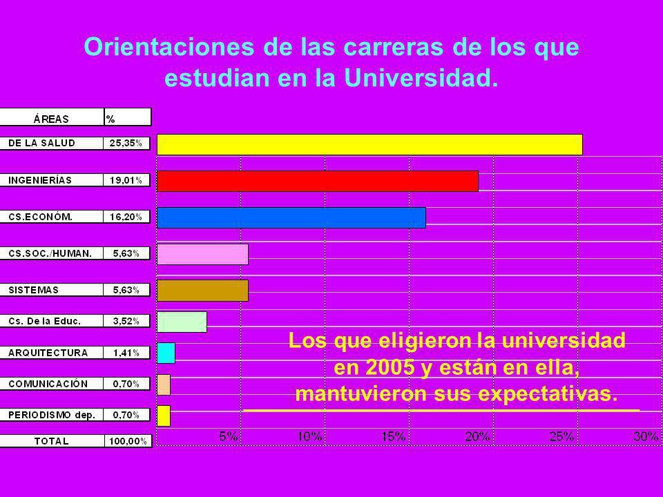 Orientaciones de las carreras de los que estudian en la Universidad. Los que eligieron la universidad en 2005 y están en ella, mantuvieron sus expecta