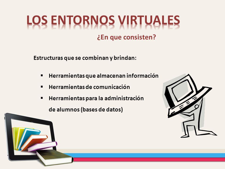 ¿En que consisten? Herramientas que almacenan información Herramientas de comunicación Herramientas para la administración de alumnos (bases de datos)