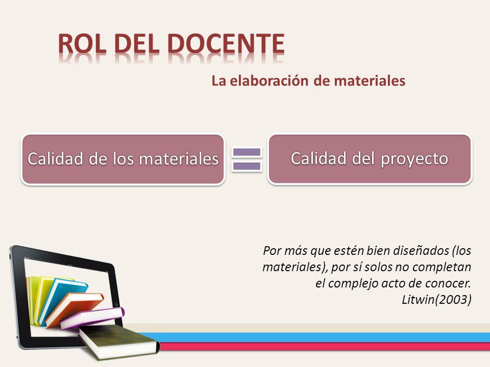 La elaboración de materiales Por más que estén bien diseñados (los materiales), por sí solos no completan el complejo acto de conocer. Litwin(2003) Ca