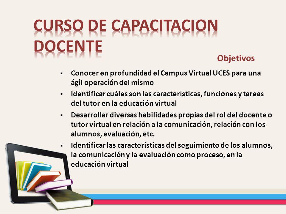 Objetivos Conocer en profundidad el Campus Virtual UCES para una ágil operación del mismo Identificar cuáles son las características, funciones y tare