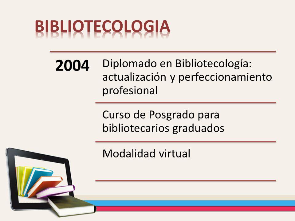 2004 Diplomado en Bibliotecología: actualización y perfeccionamiento profesional Curso de Posgrado para bibliotecarios graduados Modalidad virtual
