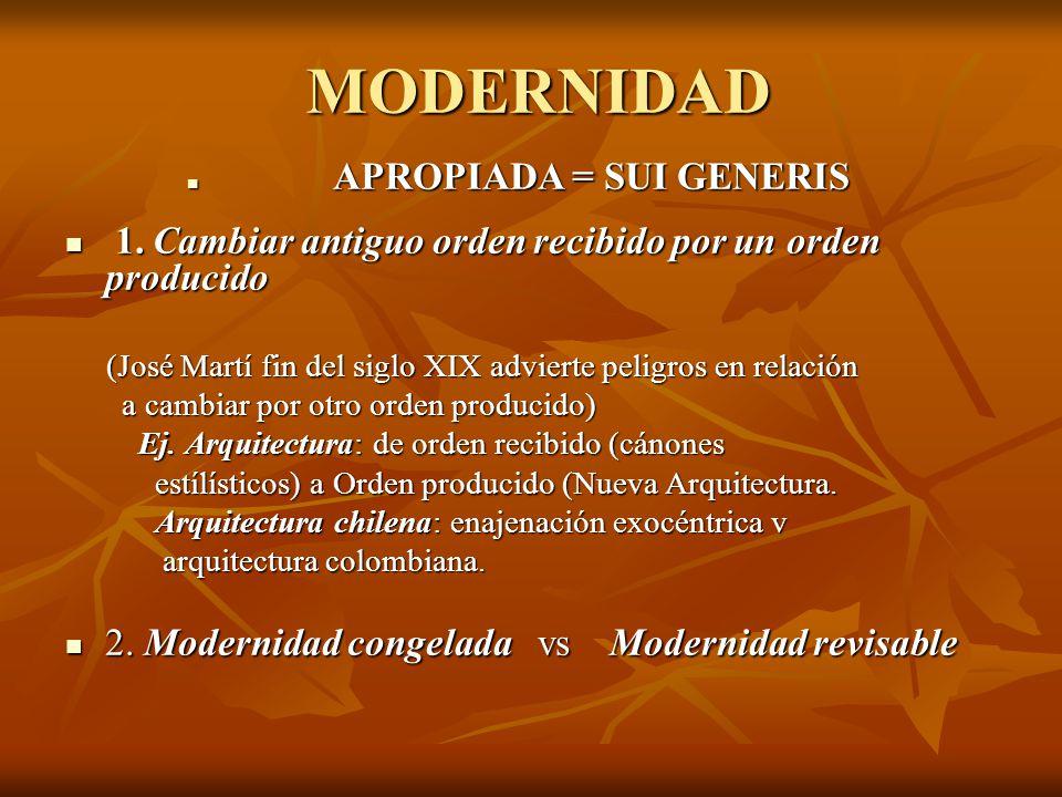 MODERNIDAD APROPIADA = SUI GENERIS APROPIADA = SUI GENERIS 1.