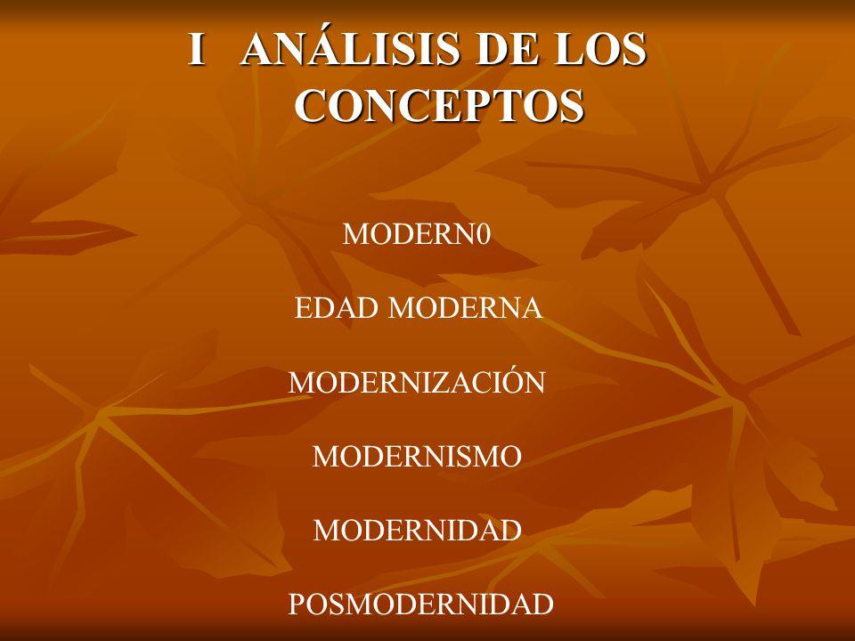 I ANÁLISIS DE LOS CONCEPTOS MODERN0 EDAD MODERNA MODERNIZACIÓN MODERNISMO MODERNIDAD POSMODERNIDAD