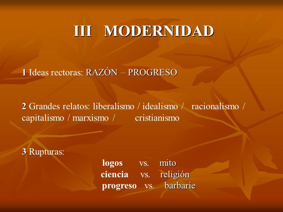 III MODERNIDAD 1RAZÓN – PROGRESO 1 Ideas rectoras: RAZÓN – PROGRESO 2 2 Grandes relatos: liberalismo / idealismo / racionalismo / capitalismo / marxis