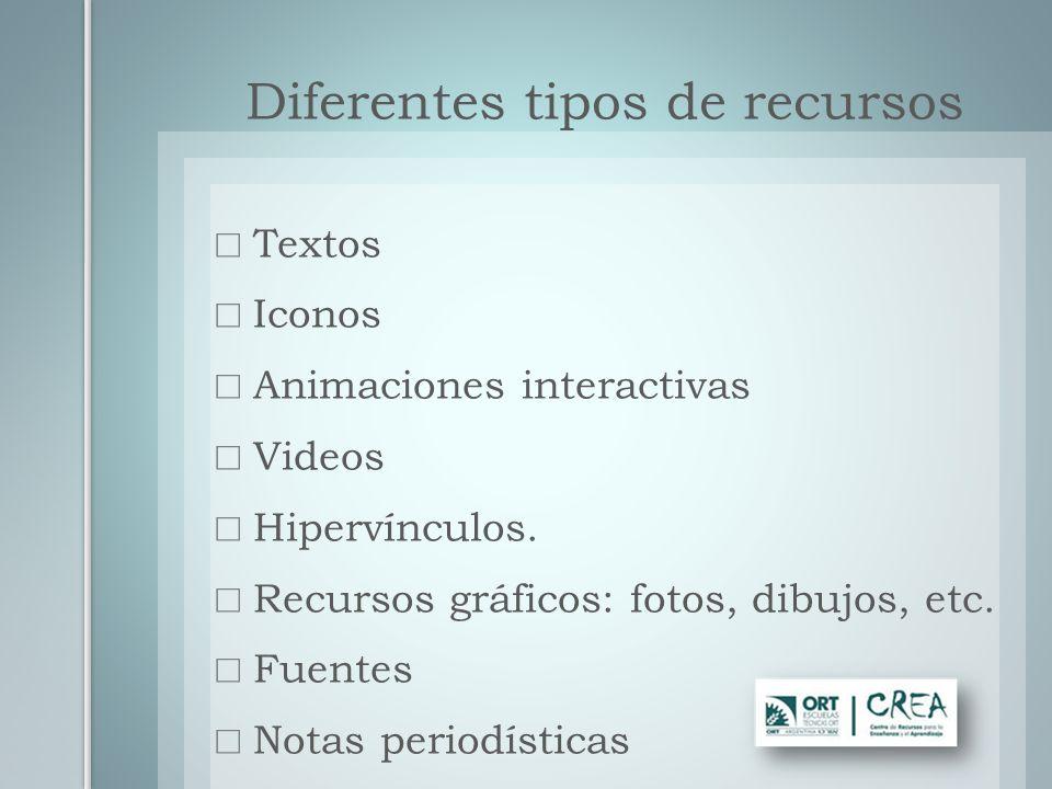 Textos Iconos Animaciones interactivas Videos Hipervínculos. Recursos gráficos: fotos, dibujos, etc. Fuentes Notas periodísticas Diferentes tipos de r