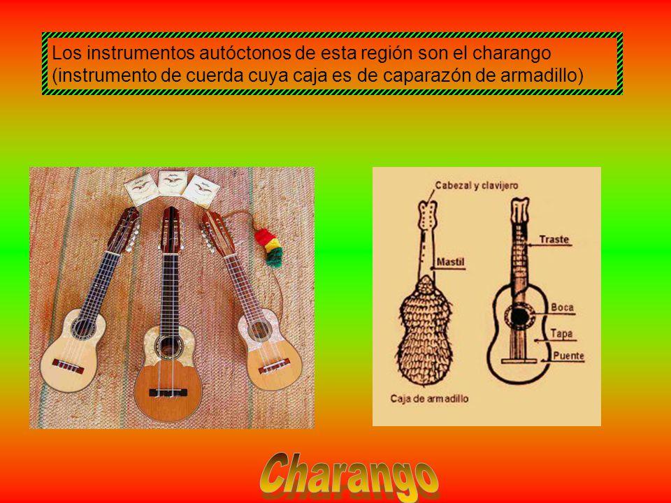 Los instrumentos autóctonos de esta región son el charango (instrumento de cuerda cuya caja es de caparazón de armadillo)