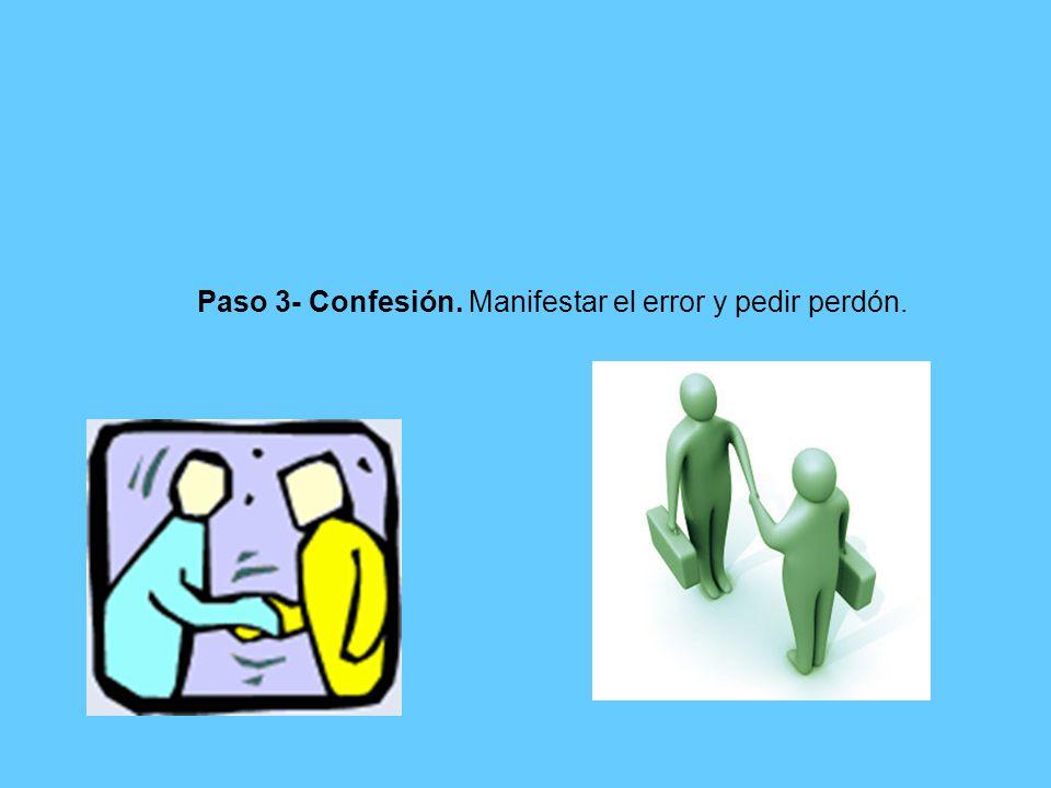 Paso 3- Confesión. Manifestar el error y pedir perdón.