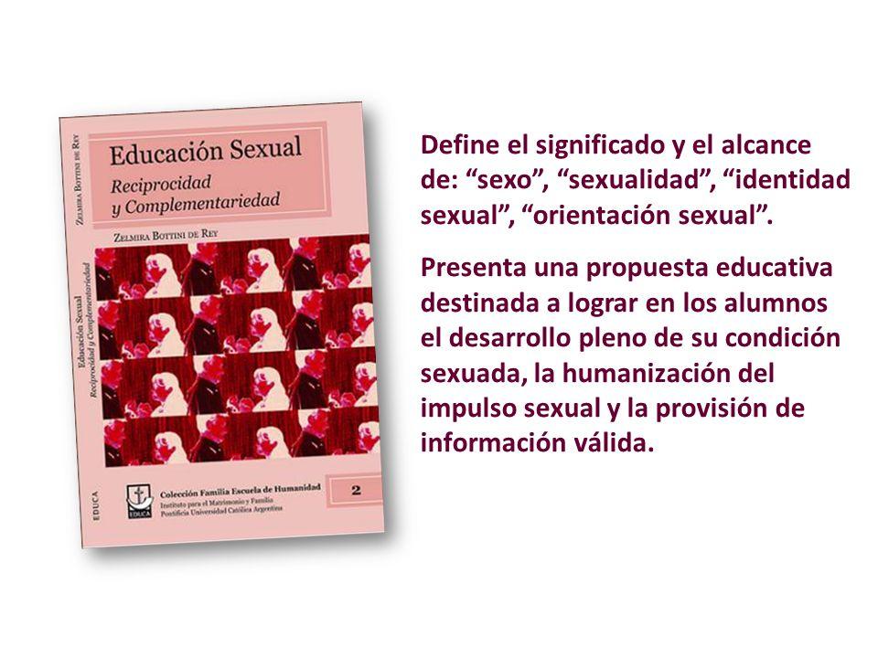 Define el significado y el alcance de: sexo, sexualidad, identidad sexual, orientación sexual.