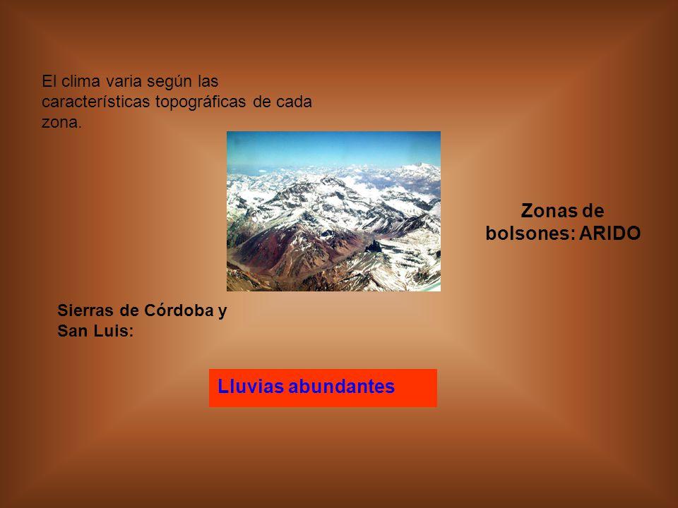 El clima varia según las características topográficas de cada zona.