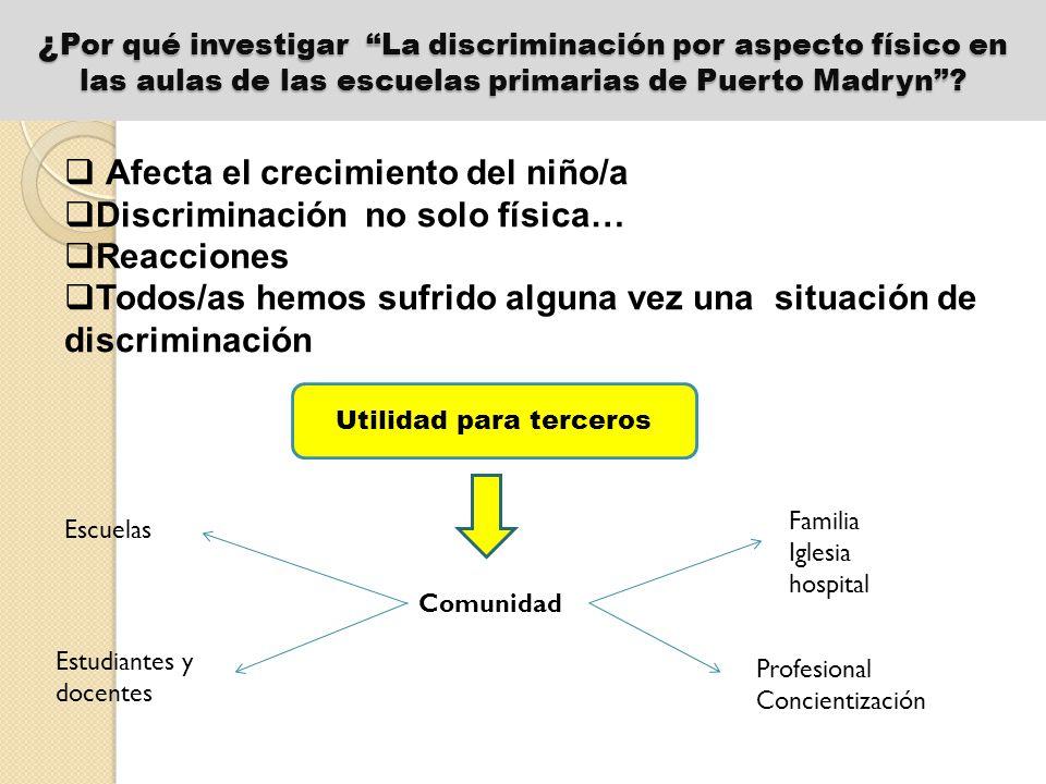 Objetivo principal Analizar las razones por las cuales el fenómeno de la discriminación física se produce en las escuelas de Puerto Madryn.