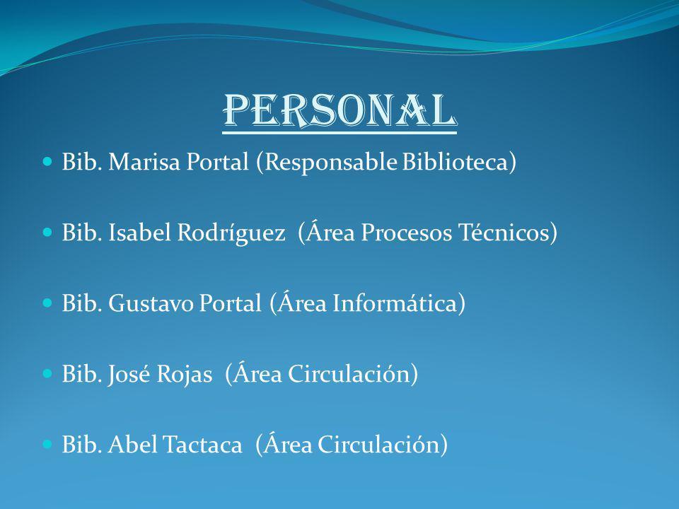 PERSONAL Bib. Marisa Portal (Responsable Biblioteca) Bib. Isabel Rodríguez (Área Procesos Técnicos) Bib. Gustavo Portal (Área Informática) Bib. José R