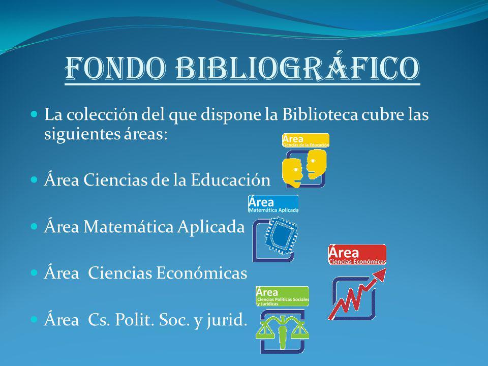 FONDO BIBLIOGRÁFICO La colección del que dispone la Biblioteca cubre las siguientes áreas: Área Ciencias de la Educación Área Matemática Aplicada Área