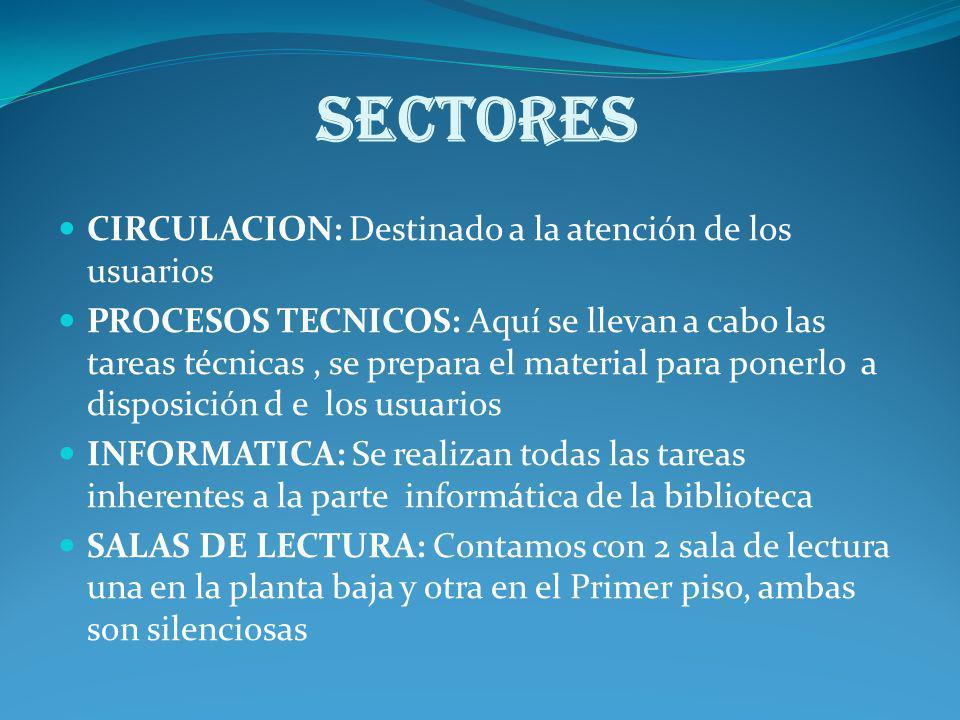 SECTORES CIRCULACION: Destinado a la atención de los usuarios PROCESOS TECNICOS: Aquí se llevan a cabo las tareas técnicas, se prepara el material par