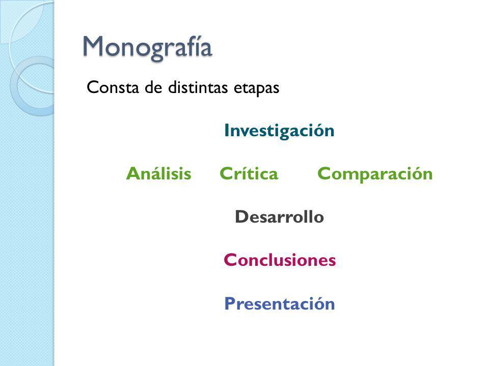 Monografía Consta de distintas etapas Investigación AnálisisCríticaComparación Desarrollo Conclusiones Presentación