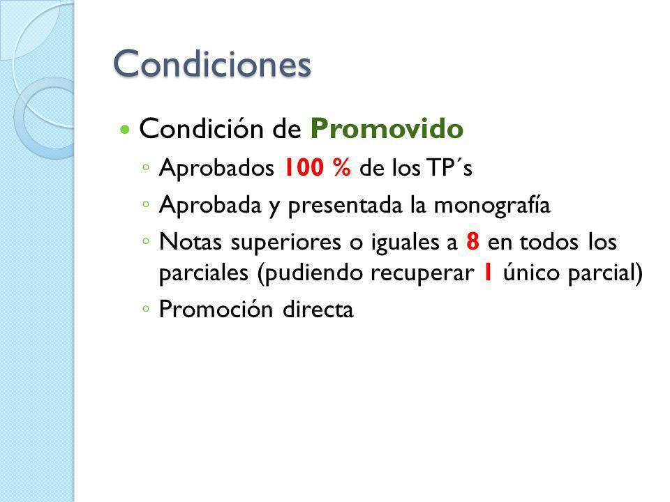 Condiciones Condición de Promovido Aprobados 100 % de los TP´s Aprobada y presentada la monografía Notas superiores o iguales a 8 en todos los parcial
