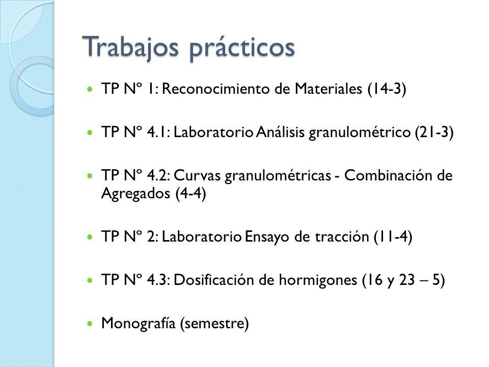 Trabajos prácticos TP Nº 1: Reconocimiento de Materiales (14-3) TP Nº 4.1: Laboratorio Análisis granulométrico (21-3) TP Nº 4.2: Curvas granulométrica