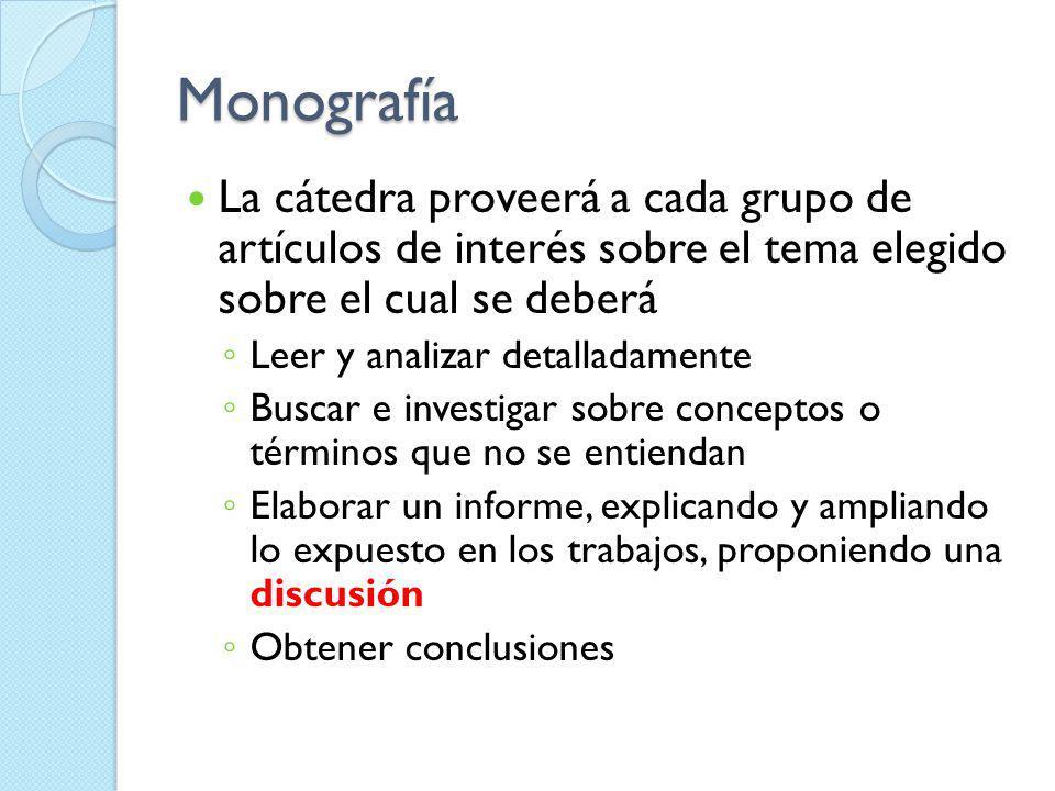 Monografía La cátedra proveerá a cada grupo de artículos de interés sobre el tema elegido sobre el cual se deberá Leer y analizar detalladamente Busca