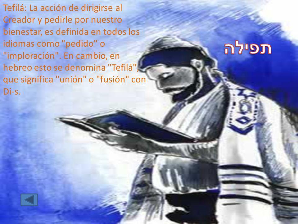 Tefilá: La acción de dirigirse al Creador y pedirle por nuestro bienestar, es definida en todos los idiomas como