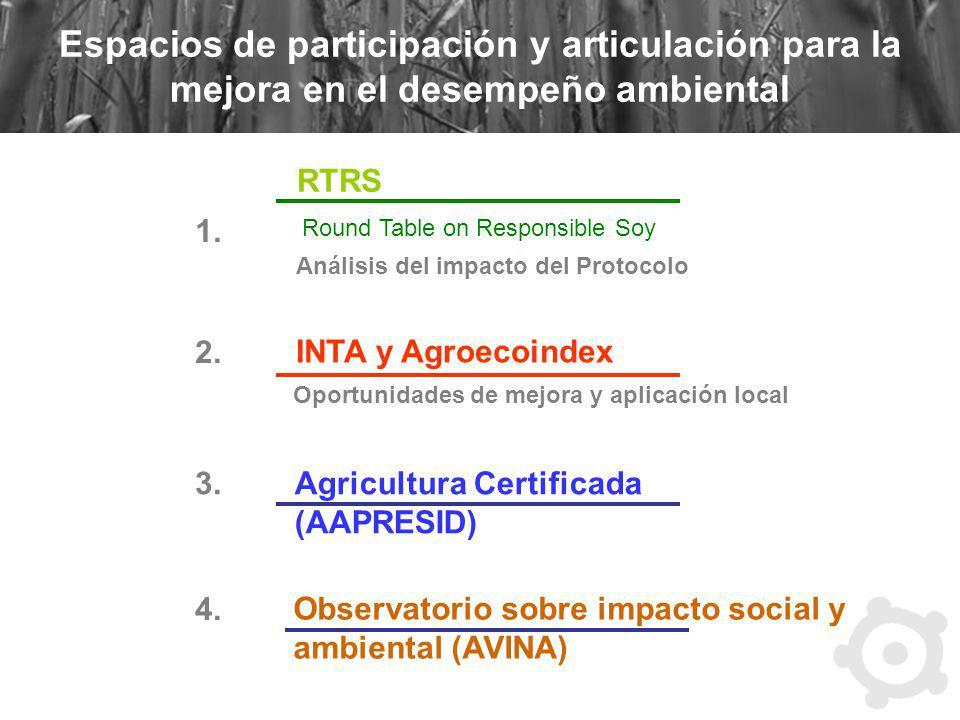 Espacios de participación y articulación para la mejora en el desempeño ambiental RTRS Round Table on Responsible Soy Análisis del impacto del Protoco