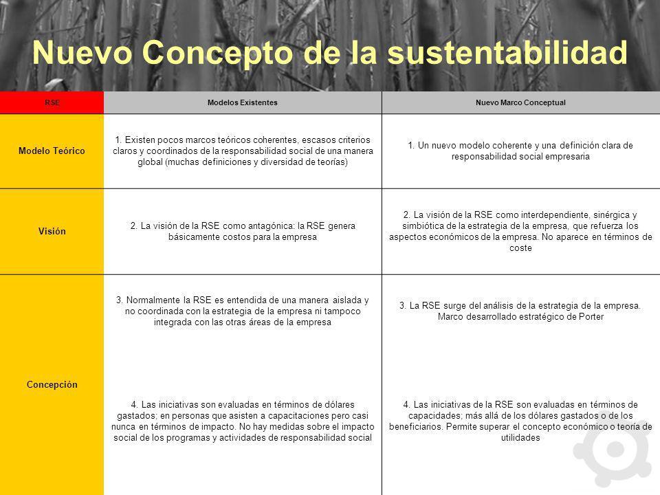 Nuevo Concepto de la sustentabilidad RSEModelos ExistentesNuevo Marco Conceptual Modelo Teórico 1. Existen pocos marcos teóricos coherentes, escasos c