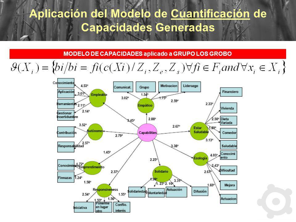 Aplicación del Modelo de Cuantificación de Capacidades Generadas MODELO DE CAPACIDADES aplicado a GRUPO LOS GROBO